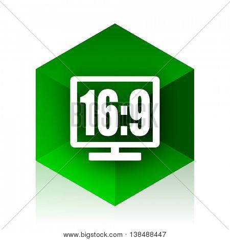 16 9 display cube icon, green modern design web element