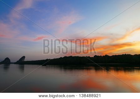 beautiful landscape with sunset over sea scenery background