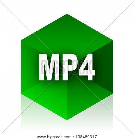 mp4 cube icon, green modern design web element