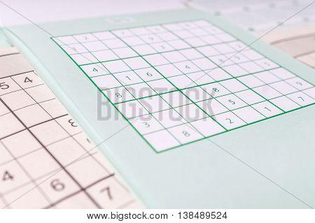 Blank sudoku crossword close view. Brainteaser game.