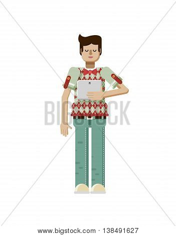 Stock vector illustration isolated of European man with dark hair, man with laptop in hand, man looking into screen of eBook, man in polo shirt with diamond pattern, flat style on white background