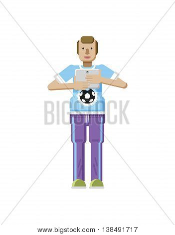 Stock vector illustration isolated of European man with blond hair, receding hairline, laptop in hand, man looking into screen of eBook, T-shirt with soccer ball in flat style on white background