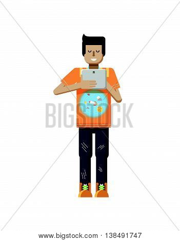 Stock vector illustration isolated of European man with dark hair, man with laptop in hand, man looking into screen of eBook, T-shirt with space system and rocket in flat style on white background