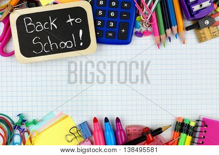 Back To School Chalkboard Tag With School Supplies Double Border On Graphing Paper Background