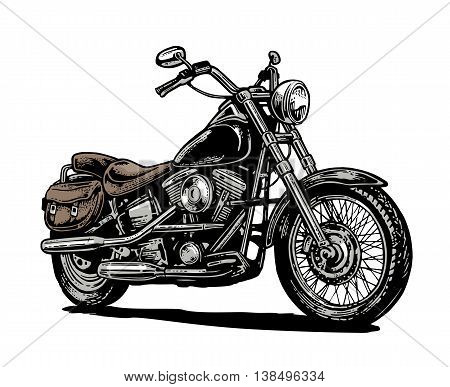 Motorcycle. Side view. Hand drawn classic chopper bike in engraving style. Vector color vintage illustration isolated on white background.