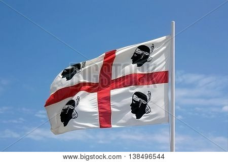 The flag of Sardinia - La bandiera sarda -The Flag of the four Moors - i quattro mori.