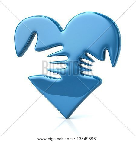3D Illustration Of Adult And Kid Hand On Blue Heart