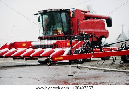 New Red Agricultural Seeder Close Up View Background Combine