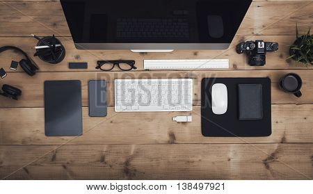 Top view office desk responsive design hero header