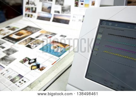 production of a printing concept colour graphic
