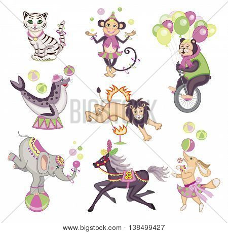 set of amazing circus animals (vector illustration)