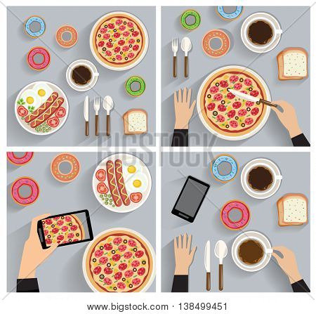 business lunch, dinner table - top view (flat concept, vector illustration)