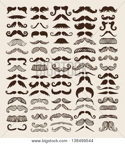 Black silhouette vector mustache. Mustache brown hair and man mustache hipster set. Mustache retro curly black silhouette collection beard mustache. Mustache barber silhouette hairstyle