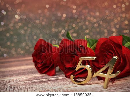 birthday concept with red roses on wooden desk. 3D render - fifty-fourth birthday. 54th