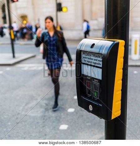 Pedestrian Button At A Pedestrian Crossing In London, Uk