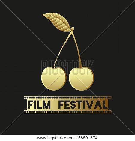 Golden Cherry. Sign - Film Festival. Camera film 35 mm roll gold, festival movie poster. Black background. Vector illustration.