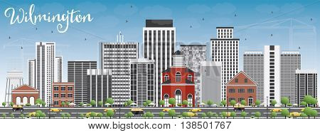 Wilmington Skyline with Gray Buildings and Blue Sky. Vector Illustration. Business Travel and Tourism Concept with Modern Buildings. Image for Presentation Banner Placard and Web Site.