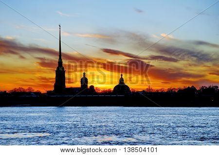 The White Nights of Saint Petersburg Russia. The silhouette of Peter-and-Paul's Cathedral in Peter and Paul Fortress