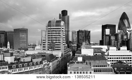 The panoramic view of London with its business centre (aerial view)