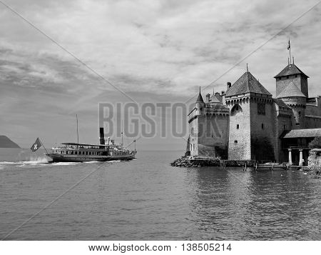 The well-known palace museum Shillon on coast of lake Leman in Switzerland