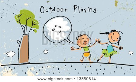 Children, group of kids, playing together outdoors in park. Vector illustration, doodle, hand drawn sketch, scribble.