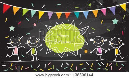 Happy birthday chalkboard. Kids anniversary, party invitation doodle style chalk on blackboard vector illustration.