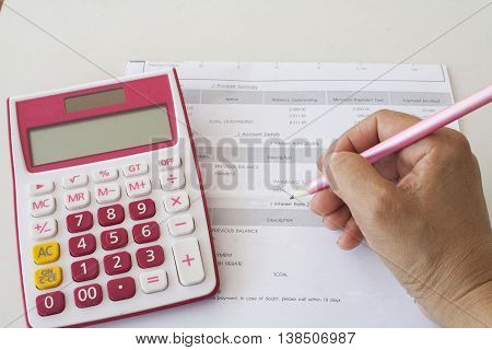 document monthly expenses credit card and hand write