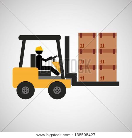 man driving forklift machine, industry icon, vector illustration