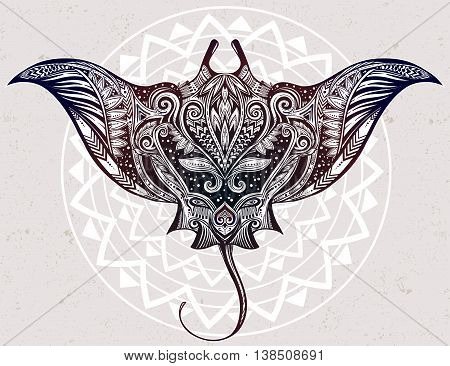 Hand drawn vector cramp fish in Maori tribal ornament decor. Stingray ethnic background, tattoo art, diving, boho design. Use for print, posters, t-shirts, textiles.
