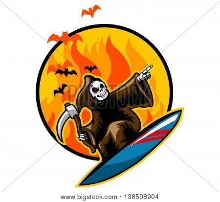 Grim reaper on surfboard in front of flame.