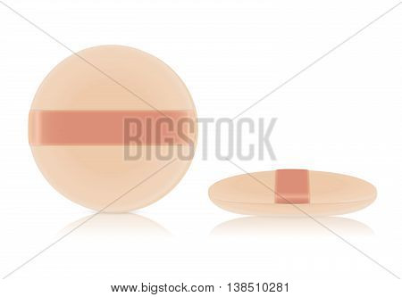 Sponge powder puff facial makeup tool nude color. front view and side view.