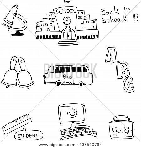 Doodle of school bus computer vector illustration