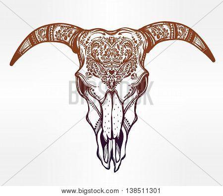 Hand drawn romantic tattoo style ornate decorative demon like goat skull. Spiritual native indian navajo art. Vector illustration isolated. Ethnic design, mystic tribal boho symbol for your use.