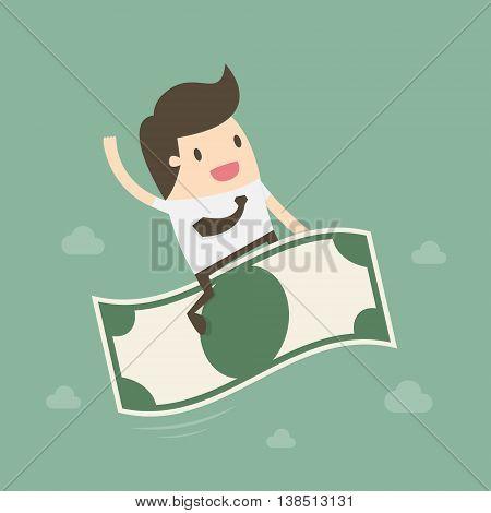 Businessman riding flying money. Business concept cartoon illustration