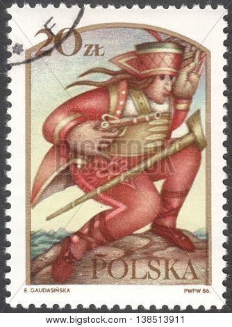 MOSCOW RUSSIA - CIRCA FEBRUARY 2016: a post stamp printed in POLAND shows Janosik the Robber the series
