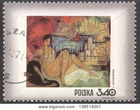 MOSCOW RUSSIA - CIRCA FEBRUARY 2016: a post stamp printed in POLAND shows painting