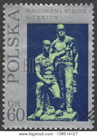 MOSCOW RUSSIA - CIRCA FEBRUARY 2016: a post stamp printed in POLAND showsa sculpture