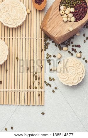 Snowy skin mooncakes. Chinese mid autumn festival raditional foods. mooncakes.