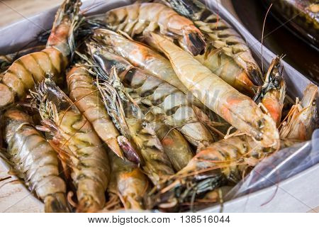 Many live crawfish in a box at the fish market