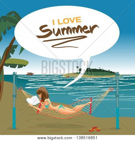 Woman dressed in green swimsuit lying in a hammock stretched on the beach and reading a book. Vector flat cartoon illustration. The comic tall brunette on the beach in green bikini
