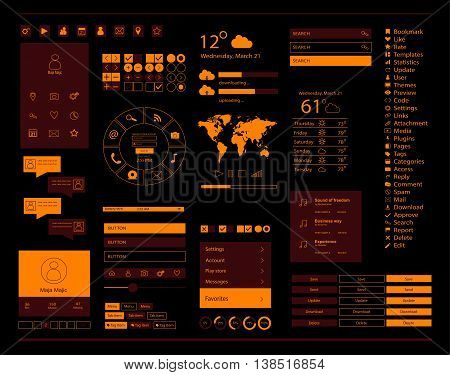User interface for mobile and web interface, with ui kit, orange color