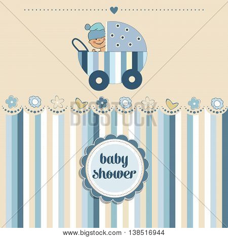 cute baby boy shower card vector illustration