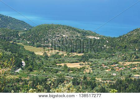 Village of Kalamitsi, Lefkada, Greece. Panoramic view on Kalamitsi  village and Lefkada coast on a beautiful sunny day