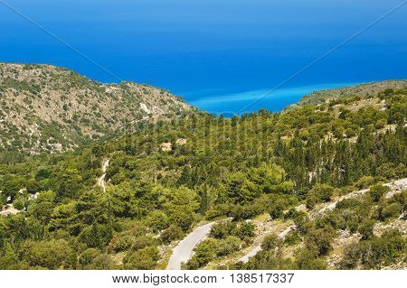 Lefkada coast beach Greece. Panoramic view from Kalamitsi to Ionian sea, Lefkada
