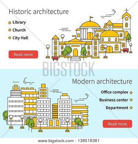 Two horizontal building line banner set on historic architecture and modern architecture themes vector illustration