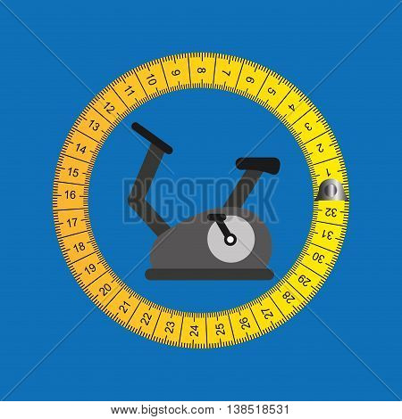 stationary bicycle surrounded bu tape measure, healthy life style, vector illustration