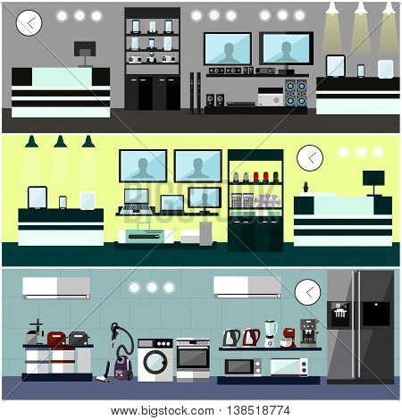 Consumer electronics store Interior. Colorful vector illustration. Design elements and banners in flat style. Laptop, TV, wash machine, phone.