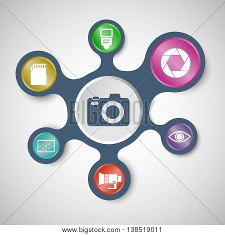 Camera infographic templates with connected metaballs, stock vector