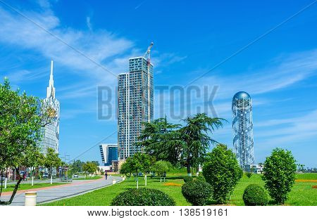 BATUMI GEORGIA - MAY 25 2016: Batumi is famous as the plaesant Black Sea resort with green gardens interesting architecture and great Adjarian cuisine on May 25 in Batumi Georgia.