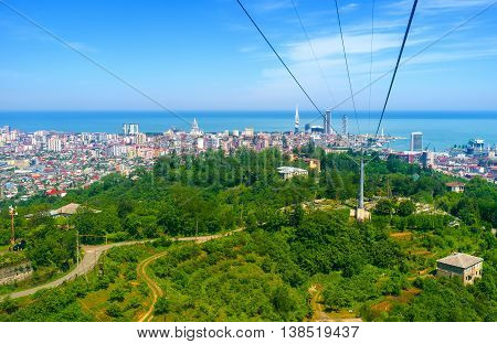 The Cableway in Batumi offers the long and interesting ride over the city its suburb and forests surrounding it Georgia.